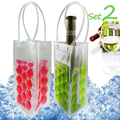 Amazon.com: Bolsas para enfriar vino con asas, Rojo+Verde ...