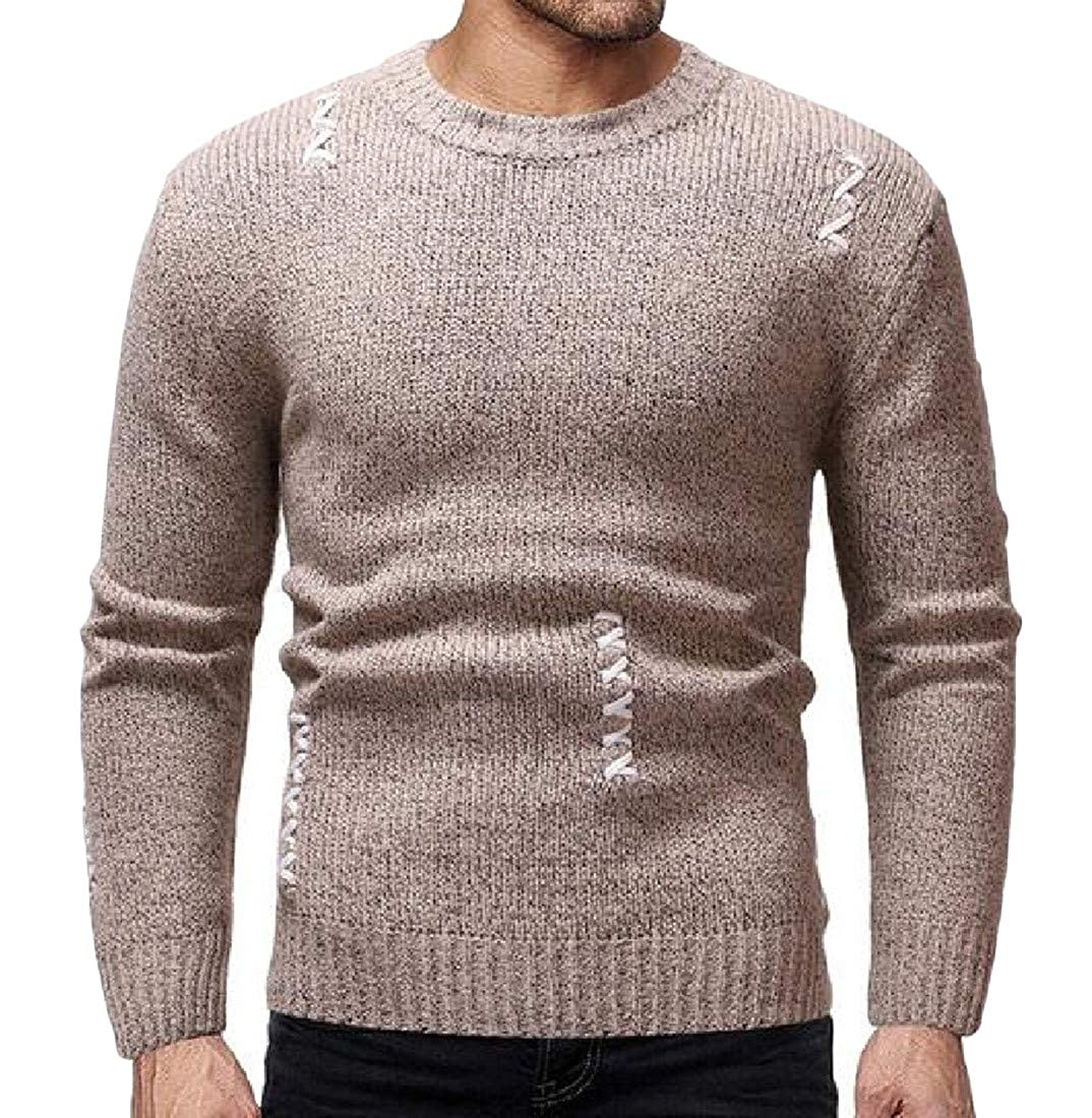 Wofupowga Men Vogue Knitted O-Neck Stretchy Pure Color Pullover Jumper Sweaters