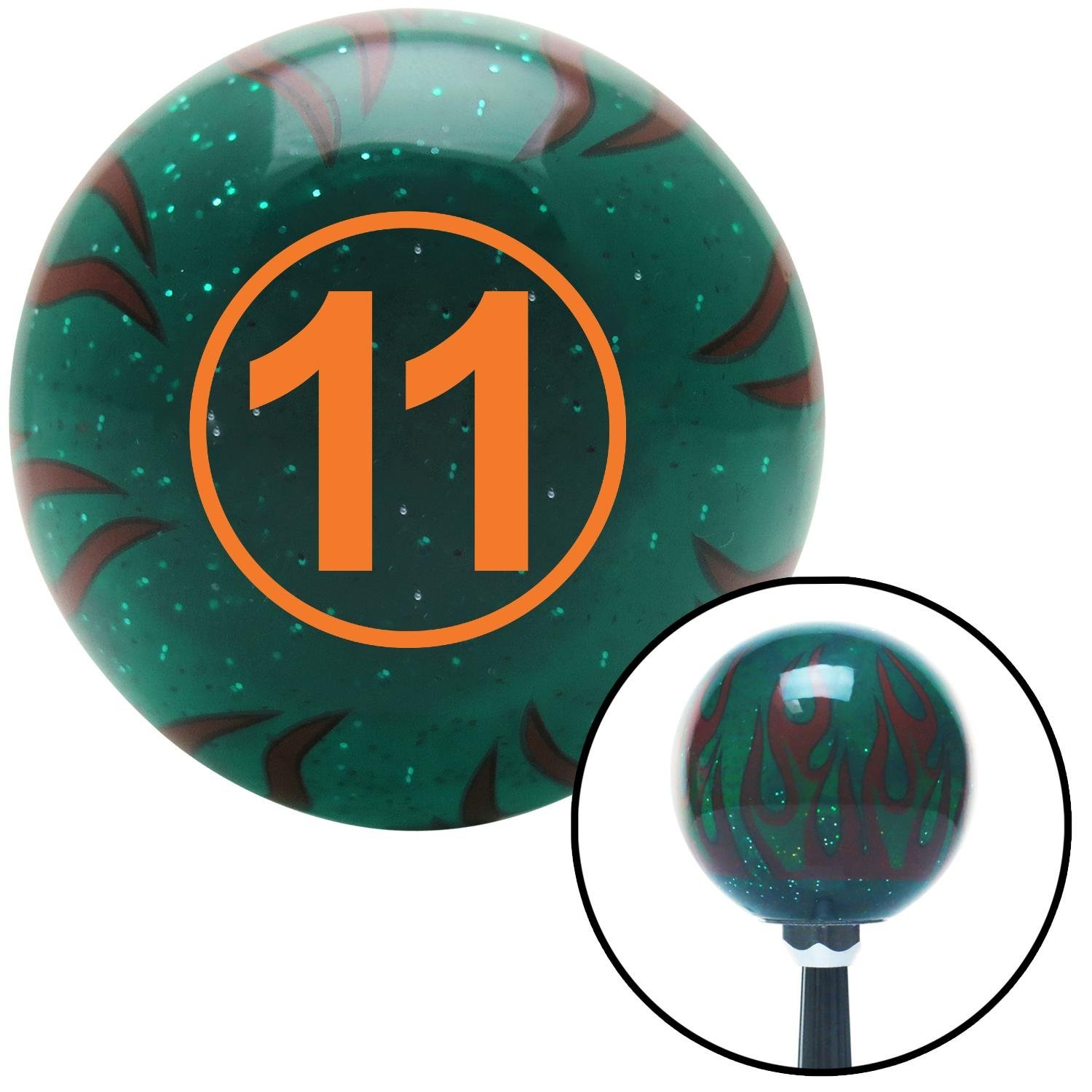 American Shifter 261138 Green Flame Metal Flake Shift Knob with M16 x 1.5 Insert Orange Ball #11
