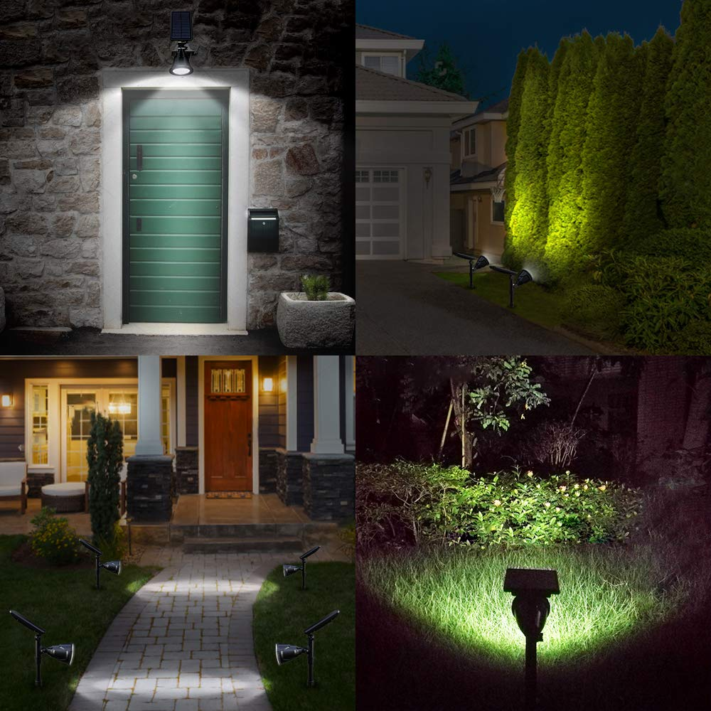 DBF Solar Lights Outdoor, Latest 18 LED Waterproof Solar Spotlights Solar Landscape Lights Auto On/Off Wall Security Lighting for Garden Yard Pathway Driveway Pool Landscaping, Pack of 2 (Cool White) by DBF (Image #6)