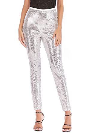 c1a42ae078623 Joyfunear Women's Black Sequin Leggings Pants Bling Tights Long Trousers  Silver Small