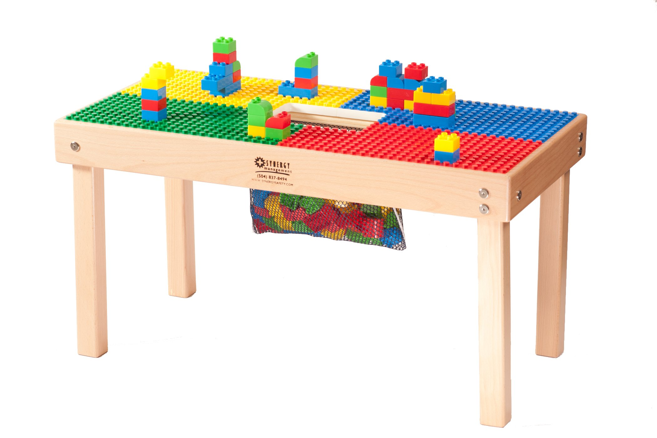 Heavy Duty Duplo Compatible Block Table with Built-in Lego Storage(Patent)-32'' x 16''-Made in USA! PREASSEMBLED-Deluxe Series-Solid Hardwood Legs & Frame-Built to Last -Ages 1 to 5 by Fun Builder