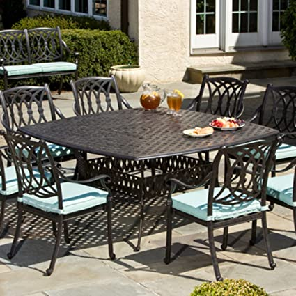 Alfresco Home Weave Cast Aluminum Square Dining Table, 64 Inch