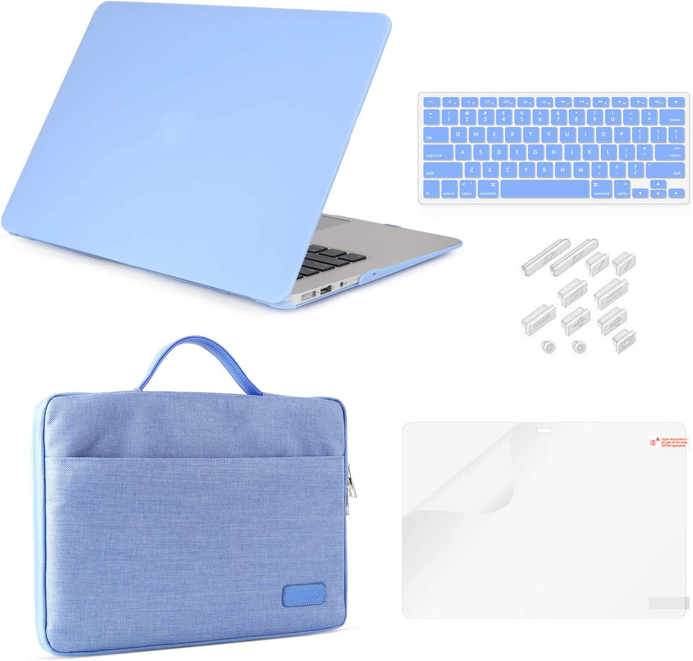 MacBook Air 11 Inch Case Bundle 5 in 1,iCasso Ultra Slim Plastic Hard Cover with Canvas Sleeve,Screen Protector,Keyboard Cover & Dust Plug for MacBook Air 11 Inch Model A1370/A1465 - Serenity Blue