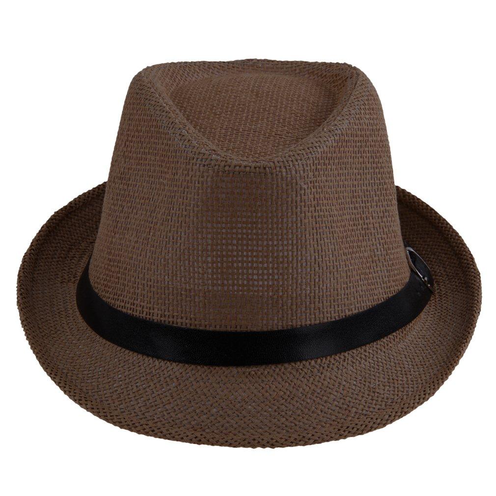 Jtc Women Men Panama Hat Buckle Dark Brown