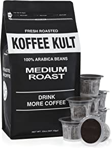 Koffee Kult Medium Roast Coffee Single Serve Capsules for Keurig K-Cup Brewers 100% Arabica Coffee - Fair Trade - 20 Capsules Per Box