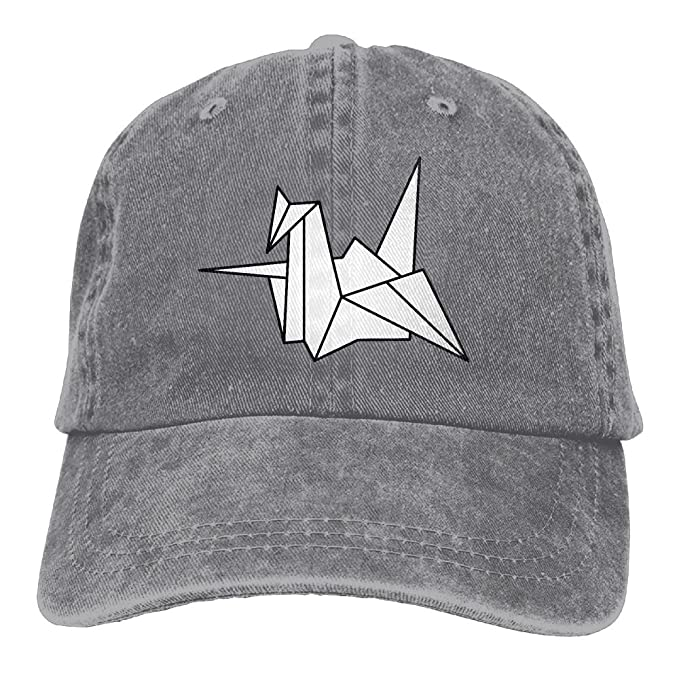 Unisex Baseball Cap Denim Fabric Hat Origami Crane Symbolism