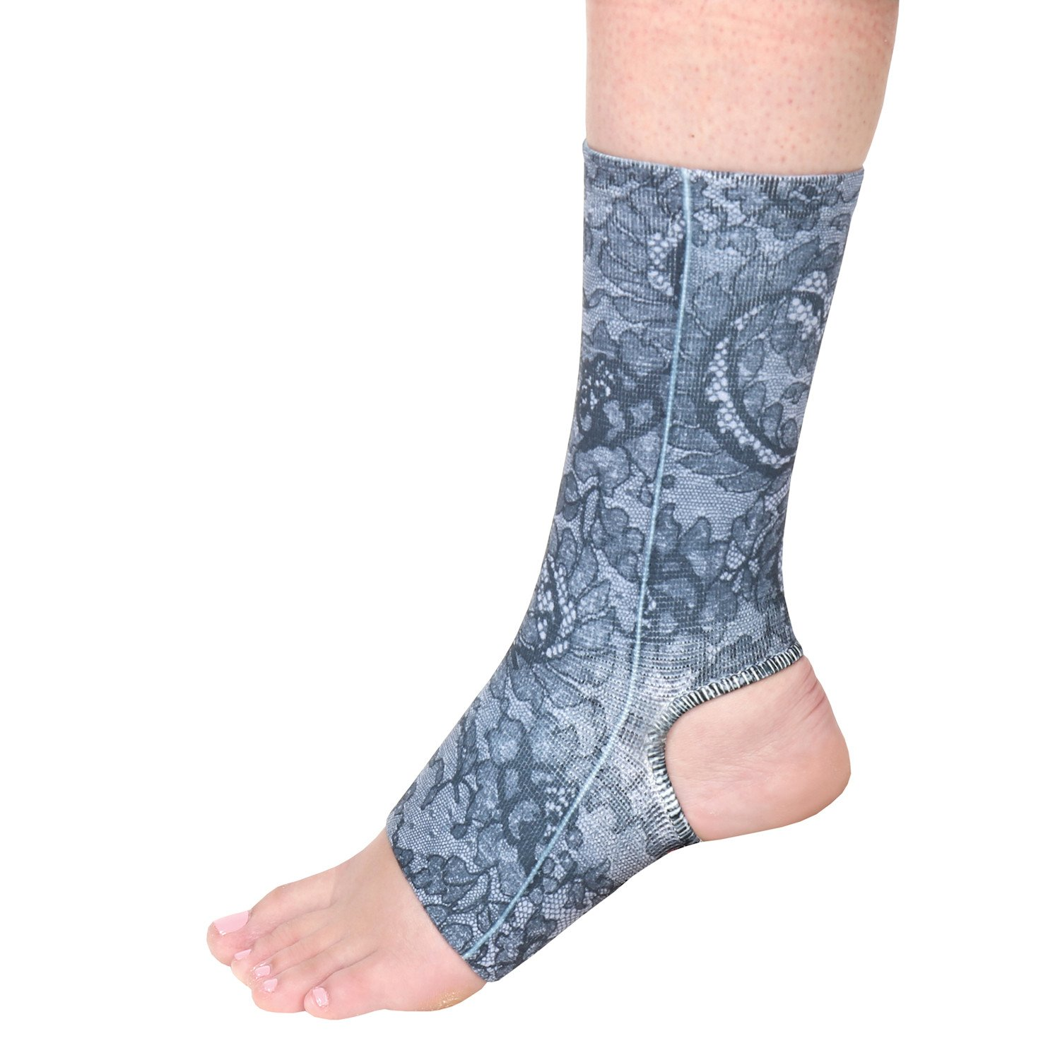 Celeste Stein Designs Women's Ankle Compression Sleeve - Printed Elastic Support Brace - Black Lace - Queen by Celeste Stein Designs