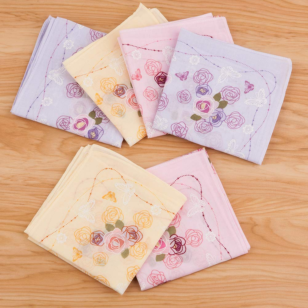 Houlife 100/% Cotton Peony Floral Printed Handkerchief Elegant Hankies for Women Ladies Girls Wedding Party 18x18 Inches