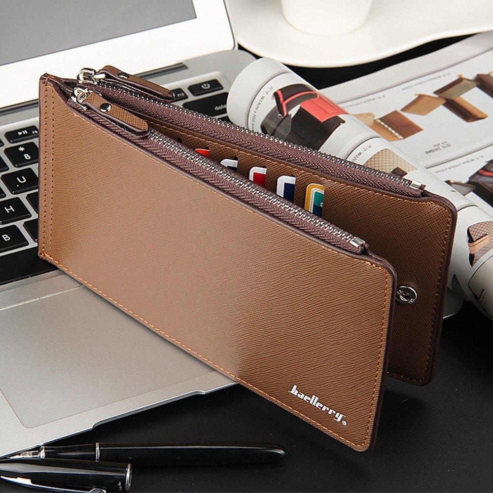 Mens Business Style Leather Card Holder Billfold Purse Long Wallet