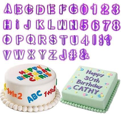 rxnon Moldes Decoración para tartas Alfabeto Letras Cortadores Números con una Animales Moldes, 40 piezas