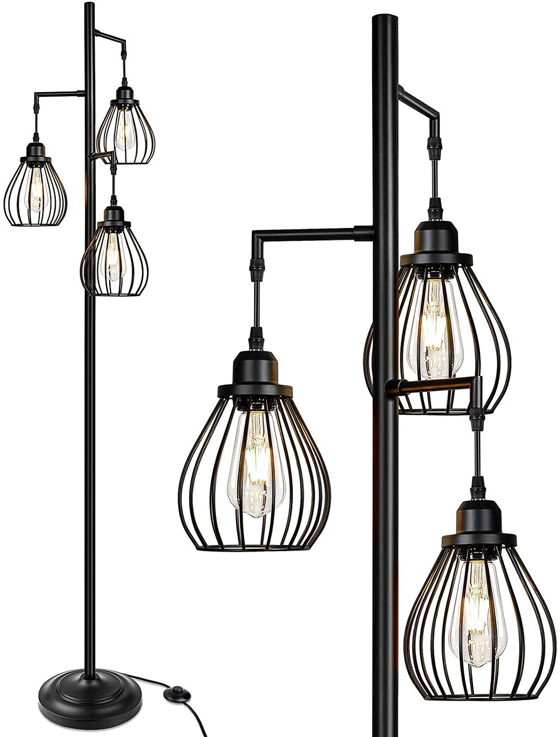 Industrial Floor Lamp for Living Room, Tree Floor Lamp with 3 Elegant Teardrop Cage Head& ST58 Edison LED Bulbs, Sturdy Base Tall Vintage Pole Light Great for Farmhouse Rustic Home Bedroom Office