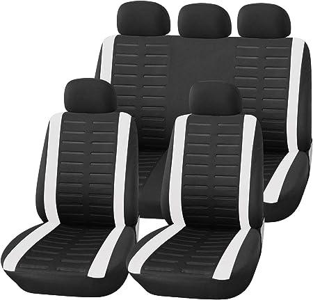 Upgrade4cars Auto Sitzbezüge Set Universal Auto Schonbezüge Schwarz Weiß Mit Teilbarer Rückbank Auto Zubehör Innenraum Auto