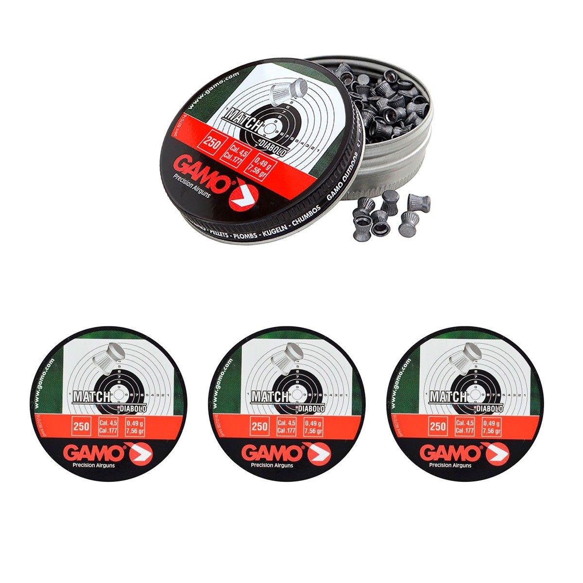 4 latas de 250 perdigones Gamo Match Diabolo de Copa 4,5mm. Modelo 320024 Outletdelocio