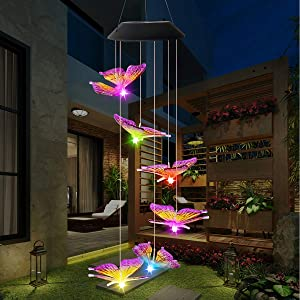 Jaycomey Solar Wind Chime Outdoor,LED Mobile Wind Chime,Gifts for Mom Hanging Decorative Romantic Patio Lights for Yard Garden Home Party(Purple Yellow Butterfly)