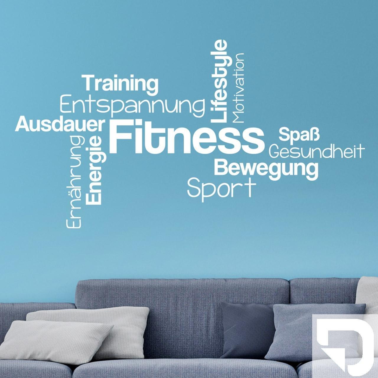 DESIGNSCAPE® Wandtattoo Fitness Wortwolke Bewegung Sport Lifestyle Training Ausdauer 160 x 87 cm (Breite x Höhe) weiss DW807301-L-F5
