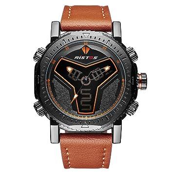 SW Watches RISTOS Reloj Deportivo Digital Analógico para Hombre Relojes De Cuero Multifunción Reloj De Pulsera Hombre LED con Cronógrafo: Amazon.es: ...