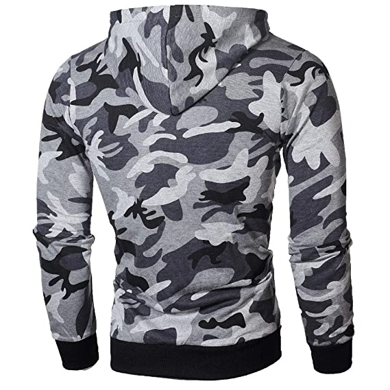iLXHD Athletic Jacket Camouflage Zipper Pullover Long Sleeve Hooded Sweatshirt at Amazon Mens Clothing store: