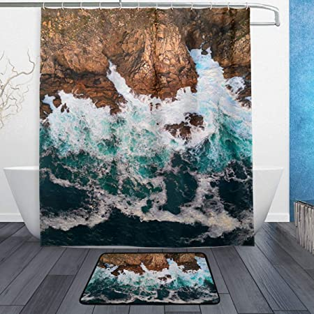 Cape Finisterre Atlantic Ocean Galicia España Juego de cortina de ducha con tapetes de baño alfombra