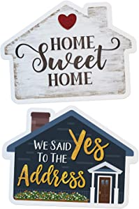 Real Estate Social Media Testimonial Photo Prop Signs - Great for Instagram, Twitter & Facebook (House Shape - 1 Sign, Double Sided, House - Home Sweet Home/Yes to the Address)