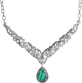 product image for Carolyn Pollack Genuine Sterling Silver Green Malachite Pendant Necklace
