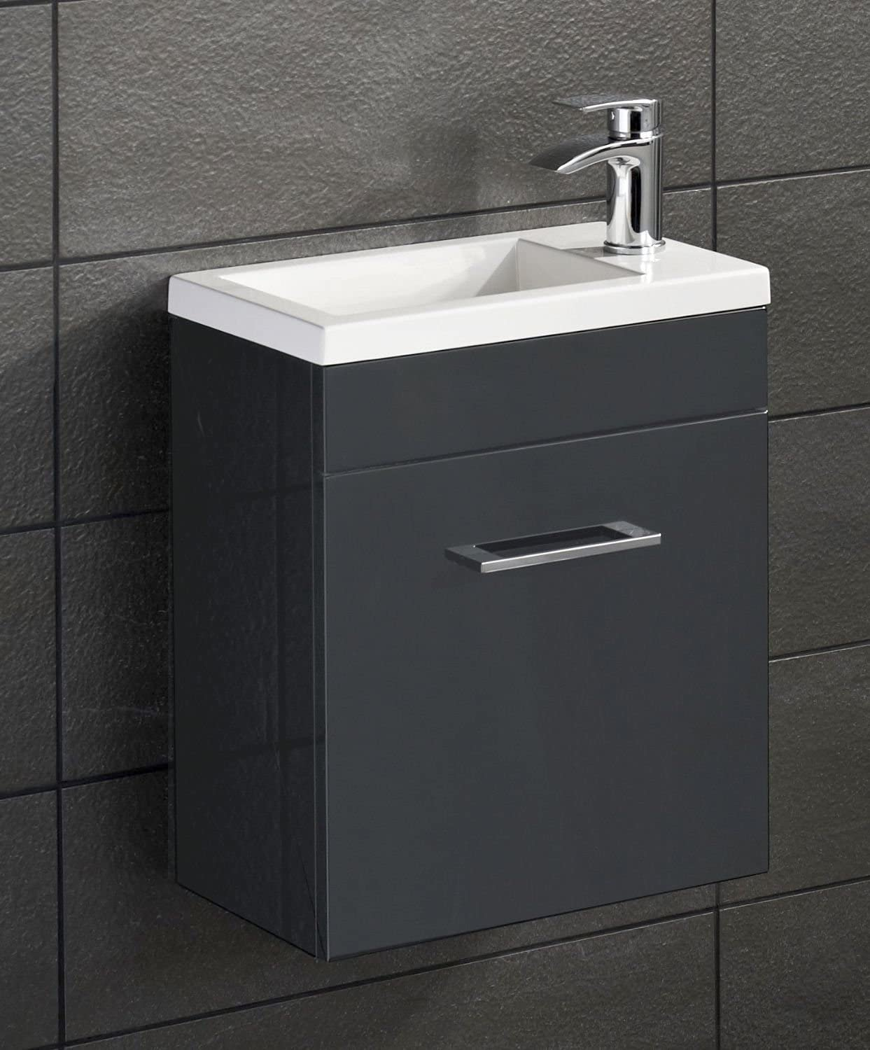 E Plumb Anthracite Square Basin Wall Hung Bathroom Furniture Cloakroom Compact Vanity Unit 400 X 250 Amazon Co Uk Kitchen Home