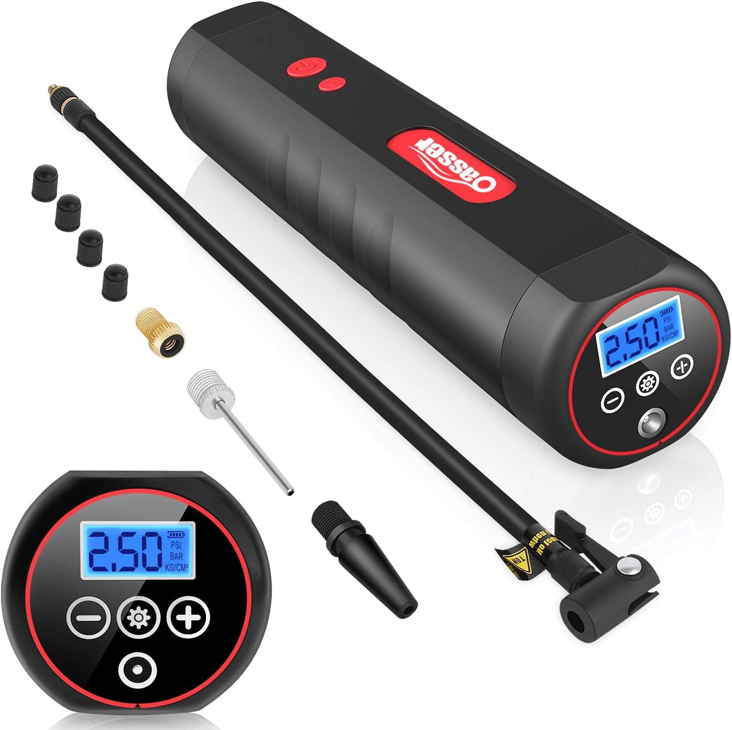 Oasser Compresor de Aire Portátil Mini Bomba de Inflado Eléctrica con Indicador de Presión LCD Digital de 120PSI 2000mAh Batería