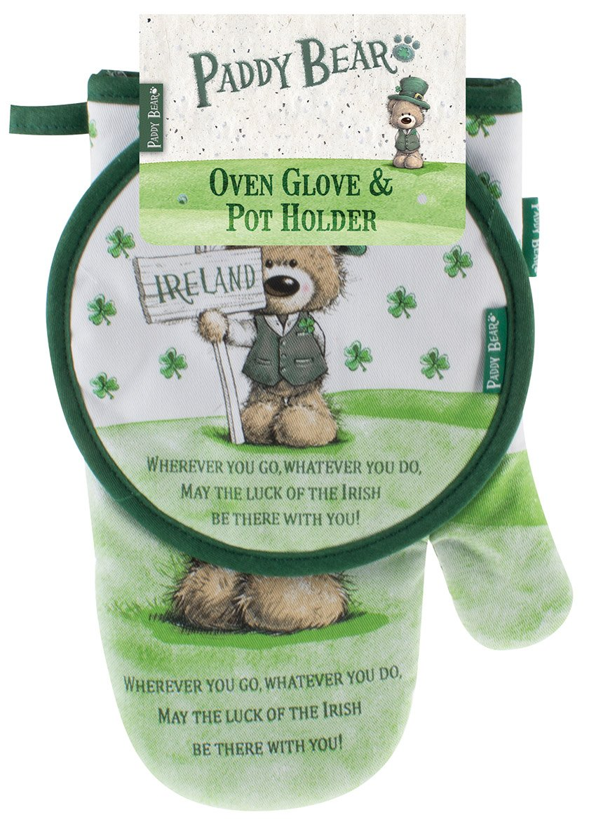 Paddy Bear Irish Designed Oven Glove & Hot Stand 'Wherever you go, whatever you do' Text