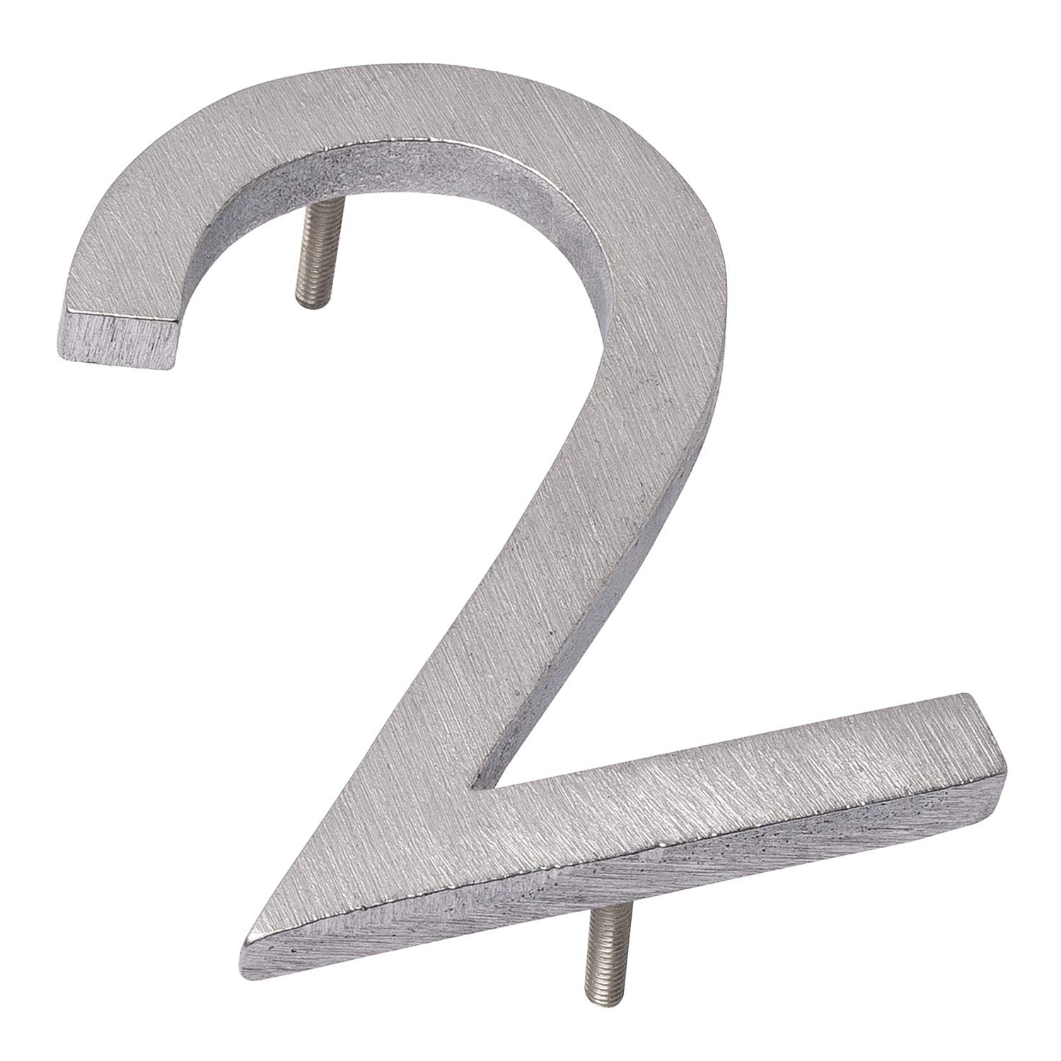 Montague Metal Products MHN-08-2-F-BA1 Floating House Number, 8'' x 5.75'' x 0.375'' Polished Aluminum