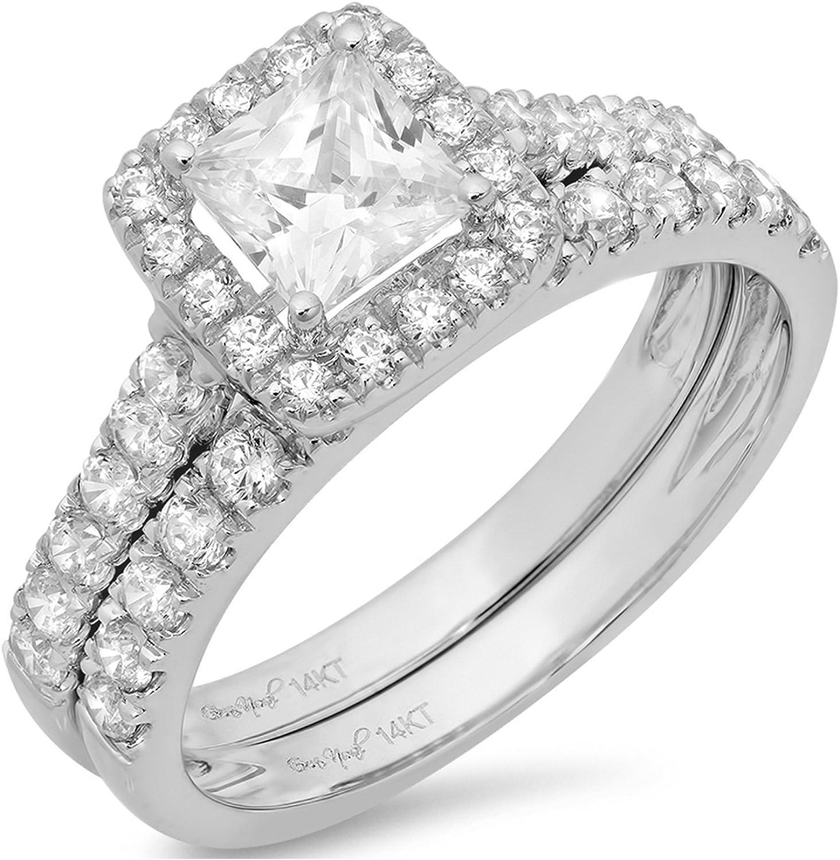 Amazon Com Clara Pucci 1 8 Ct Princess Cut Pave Halo Bridal
