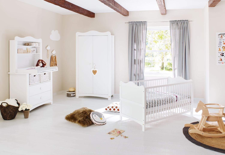 Pinolino 100023BR Kinderzimmer 'Florentina' breit, inklusiv Regalaufsatz, weiß