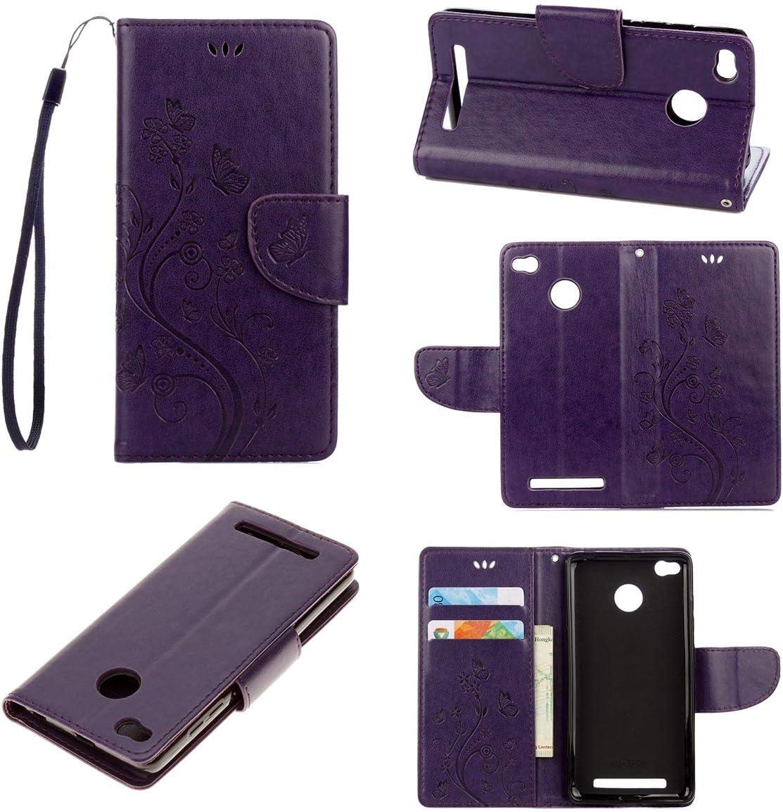 tinyue® Xiaomi Redmi 3 / Redmi3 Pro Funda, Cubierta de Billetera de Cuero PU Tapa abatible Funda, Mariposa en Relieve de Vid Cover, para Xiaomi Redmi 3 / Redmi3 Pro, Púrpura