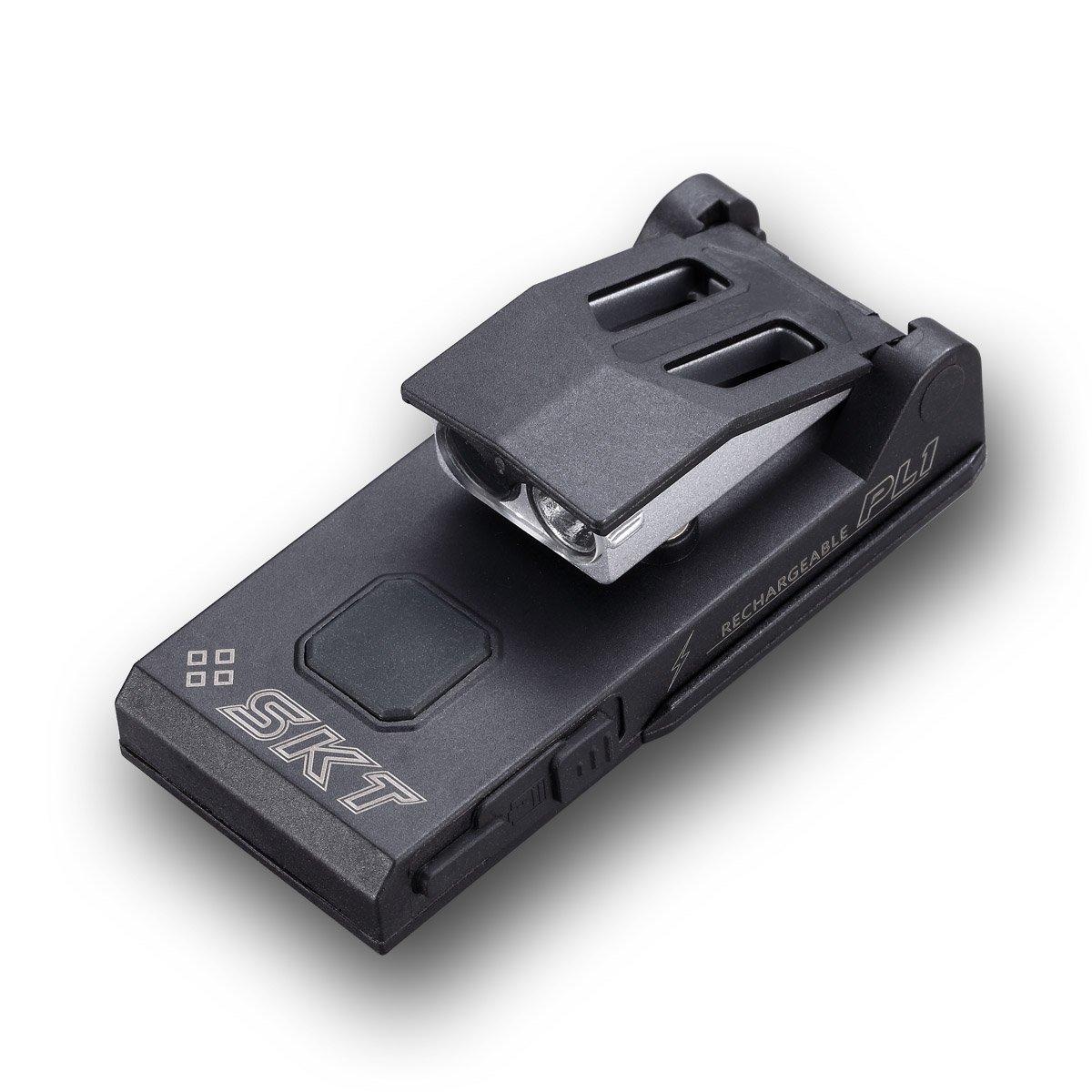 SkilHunt SKT PL1 Hands-Free Patrol Pocket Clips-on UV365nm led Police Cap Hat Shoulder Clip Money Detect USB Rechargeable Light Flashlight by SkilHunt
