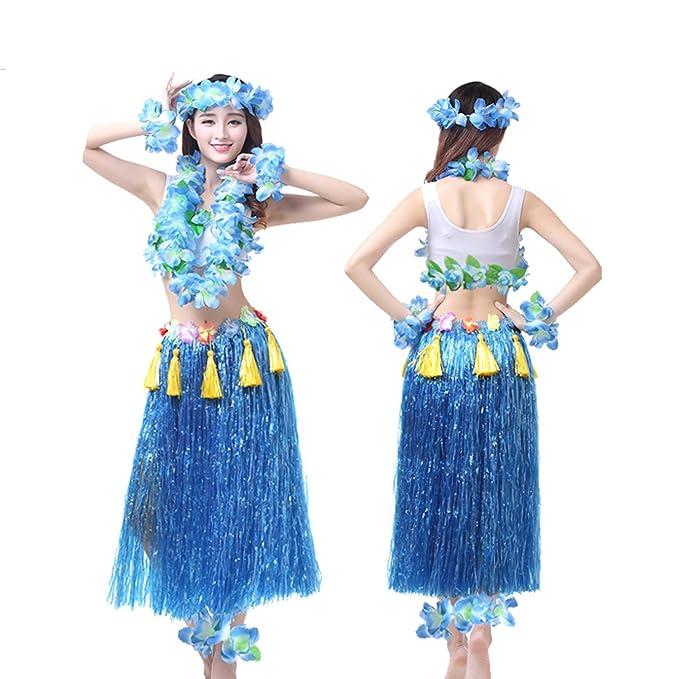 281bcbdc Amazon.com: Grass Skirts Adult Hawaiian Hula Dance 8 Piece Ballet Suit  Dance Skirt Garland Full Sets: Clothing
