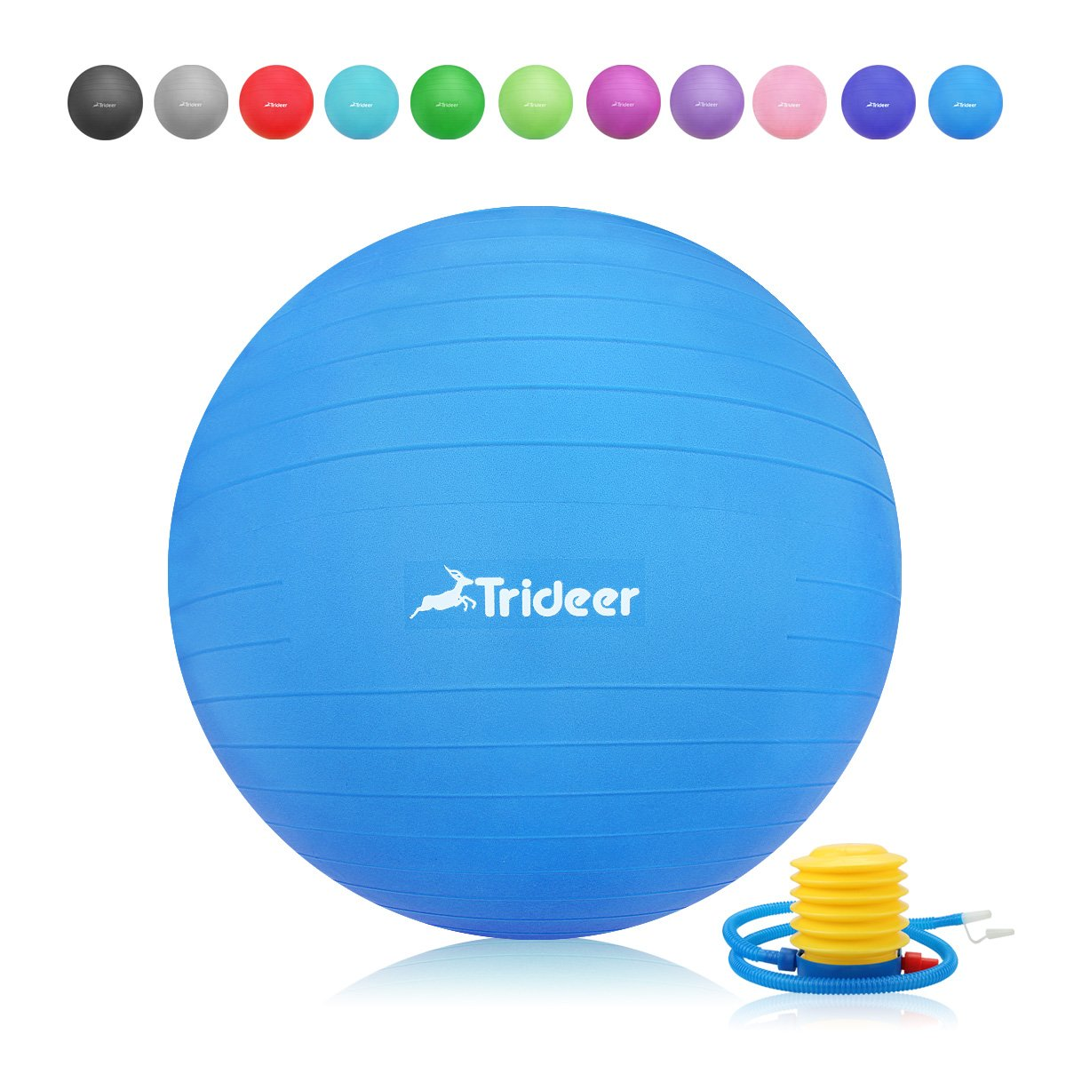 Trideer Exercise Ball, Yoga Ball, Birthing Ball with Quick Pump, Anti-Burst & Extra Thick, Heavy Duty Ball Chair, Stability Ball Supports 2200lbs (Office&Home) (Dark Blue, S (38-45cm))