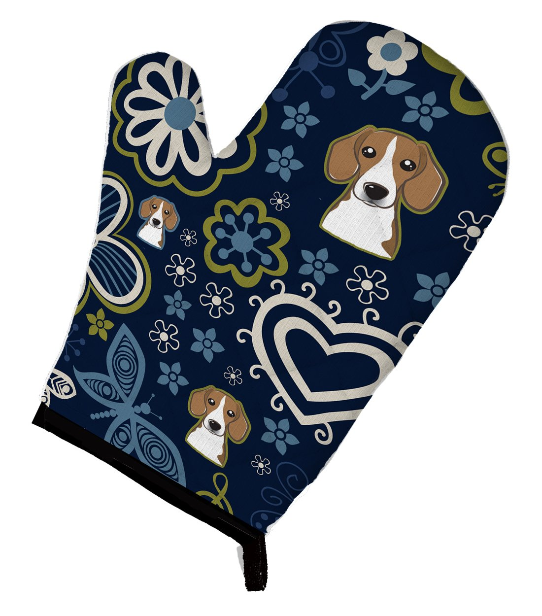 Caroline's Treasures BB5090OVMT Blue Flowers Beagle Oven Mitt, Large, multicolor