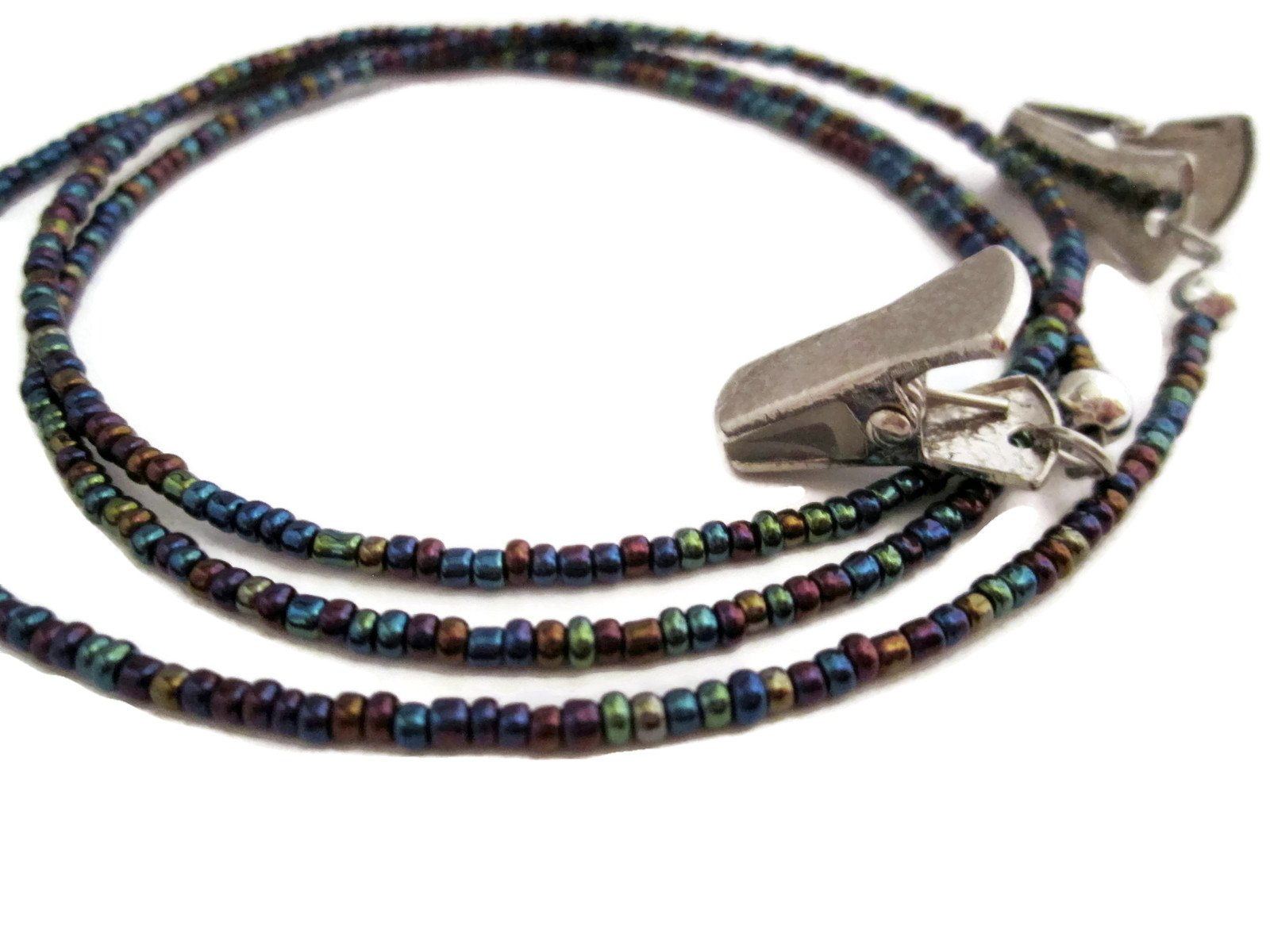 ATLanyards Oil Slick Seed Bead Clip Eyeglass Holder, Beaded Glasses Holder with Silver Clips