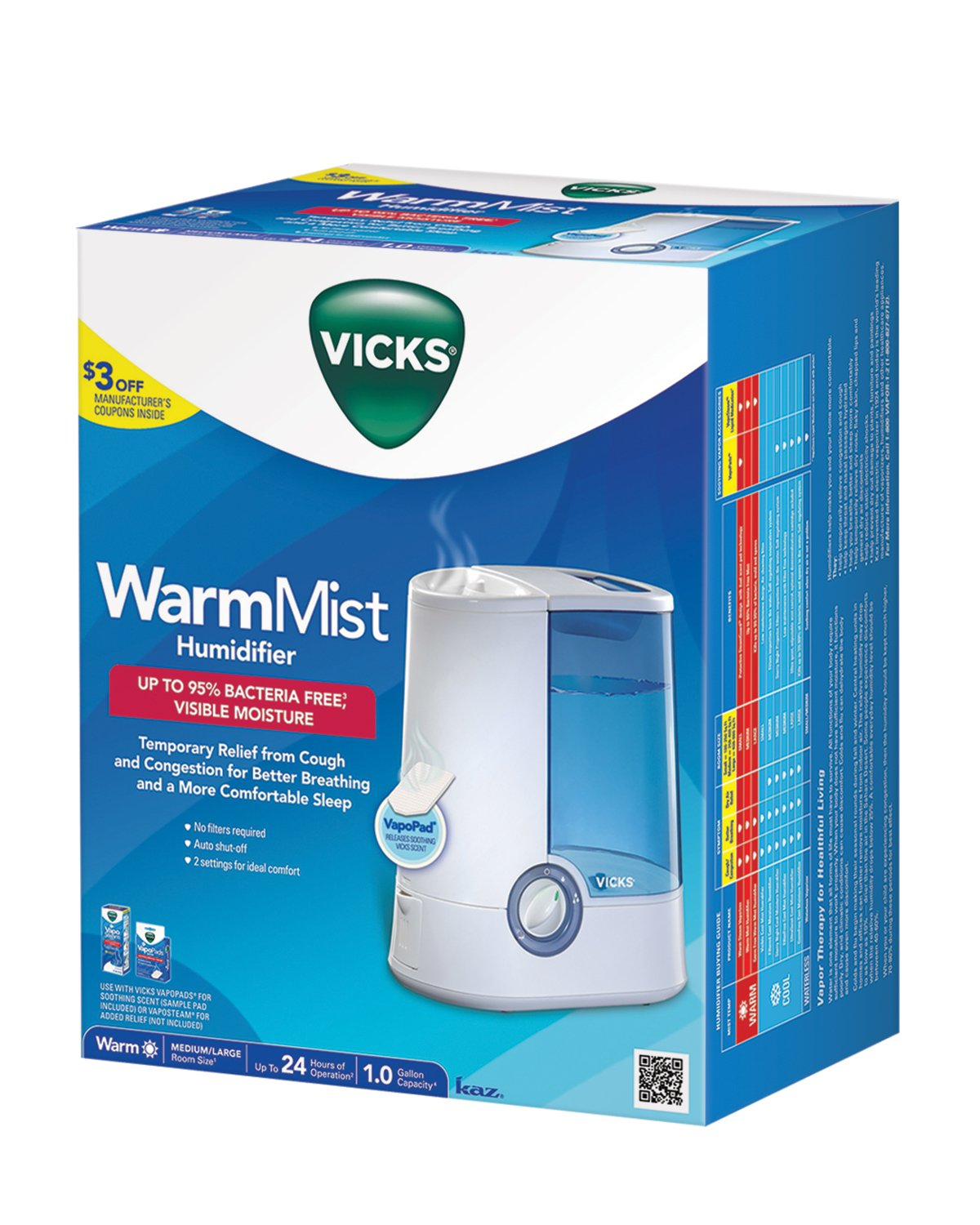 Vicks Warm Moisture Humidifier … (Humidifier 24 Hour Model) by Vicks