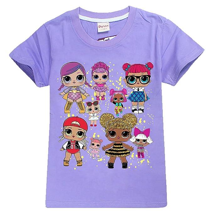 SERAPHY Unisex L.O.L Surprise Camisetas para Niñas Dolls Cartoon Game Tops Girls T-Shirt para