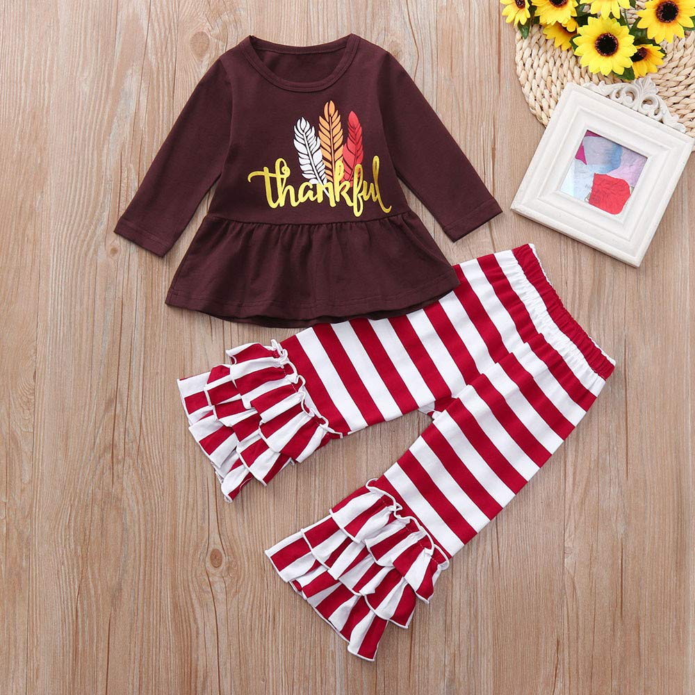 XEDUO Thanksgiving Day Toddler Baby Girl Outfits Letter Tops Striped Frill Pants Set