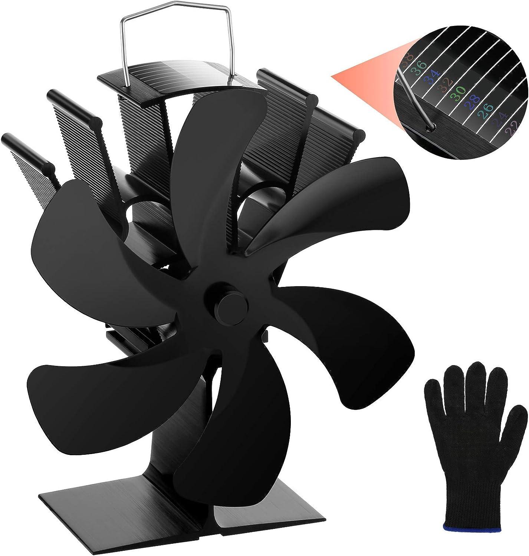 Ventilateur Poele à Bois Alimenté par la Chaleur, 6 Pales Ventilateur de Cheminée, Ventilateur de Poele pour Foyer, poele a granule, Foyer à Bois et Poêle à Bois, 60℃ Démarrage Opération Silencieuse