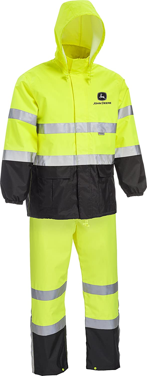 West Chester John Deere JD44530 High Visibility ANSI Class III Rain Suit Jacket and Bib with Color Block: Lime Green/Black, Large Westchester Holdings JD44530/L