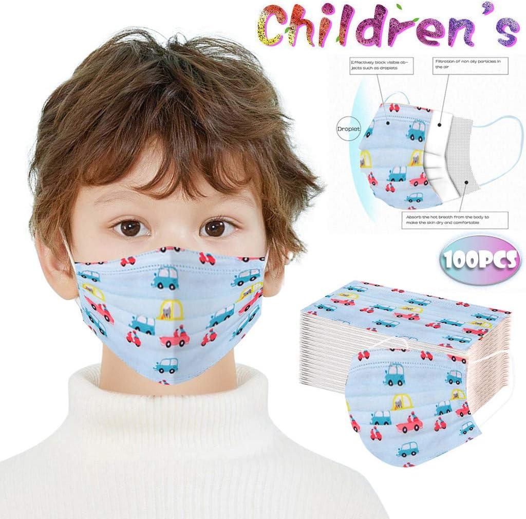 Qanield Kids Face Bandanas 100 PCS Cute Cartoon Dinosaur Kids Face Protective Breathable Mouth Cover Bandanas Boys Girls Children Students Outdoor Back to School Supplies