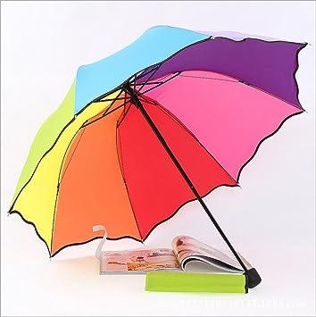 LGZOOT UV Paraguas Sol Sombrilla De Playa Tres Plegable Paraguas Del Arco Iris Paraguas Plegable Paraguas