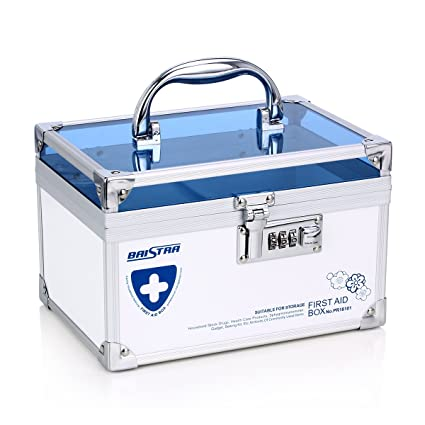 AZDENT Combination Lock Medicine Box With Compartments Medication Storage  Box Small Medicine Cabinet Blue