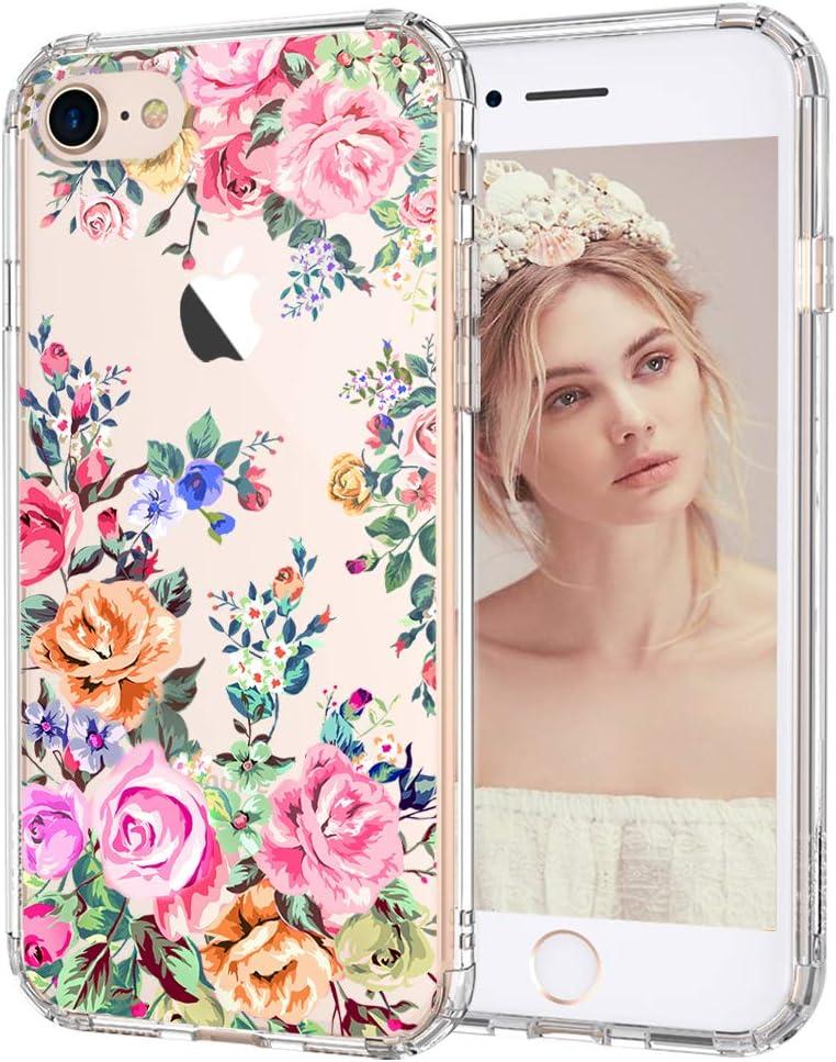 MOSNOVO Roses Garden Floral Pattern Designed for iPhone SE 2020 Case/Designed for iPhone 8 Case/Designed for iPhone 7 Case - Clear