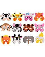 12 Pieces Assorted Foam Animal Masks for Party Halloween Favors Dress-Up with Elastic Strap