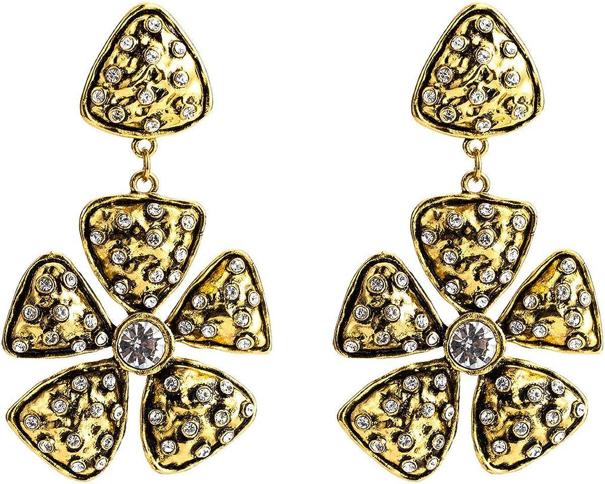 BJINUIY Exquisitos aretes de Diamantes de aleación Floral, Pendientes Retro de Moda Antigua de Europa y América con Grandes Nombres de Flores Femeninas