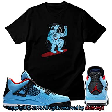 b507eb4af2ed Amazon.com  Custom T Shirt Matching Travis Scott x Air Jordan 4 Cactus Jack  JD 4-1-3  Clothing