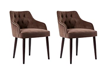 Caojin Classic Fabric Tufted Upholstered Dining Chair With Solid Wood Legs  And Nailhead, Brown,
